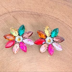 Rainbow Flower Crystal Earrings.